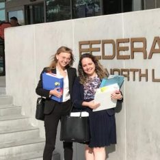 Becca (on the left) in front of the Los Angeles Federal Courthouse where she represented a Guatemalan mother and daughter seeking asylum in immigration court as part of her work with the USC Immigration Clinic