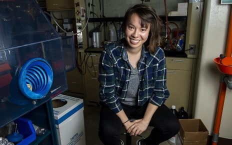 Julie Nguyen sits in her laboratory at the University of Missouri.
